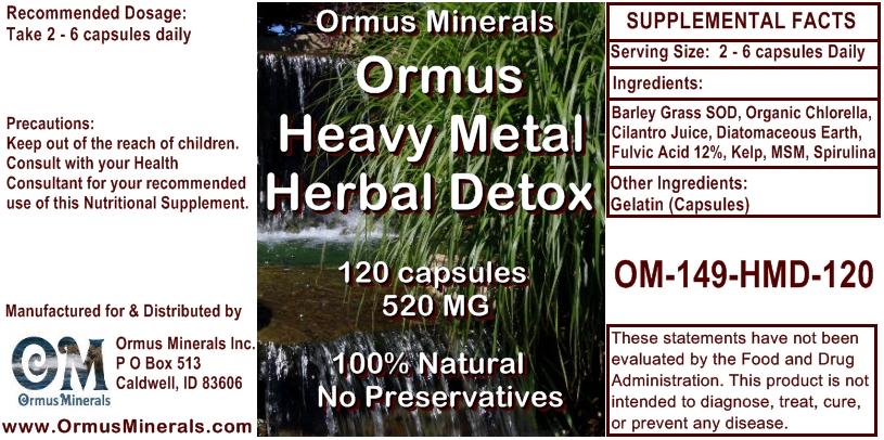 Ormus Minerals Ormus Heavy Metal Herbal Detox 120 capsules