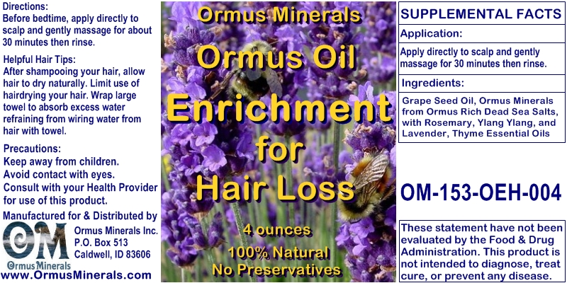 Ormus Minerals Ormus Oil Enrichment for Hair Loss 4 oz