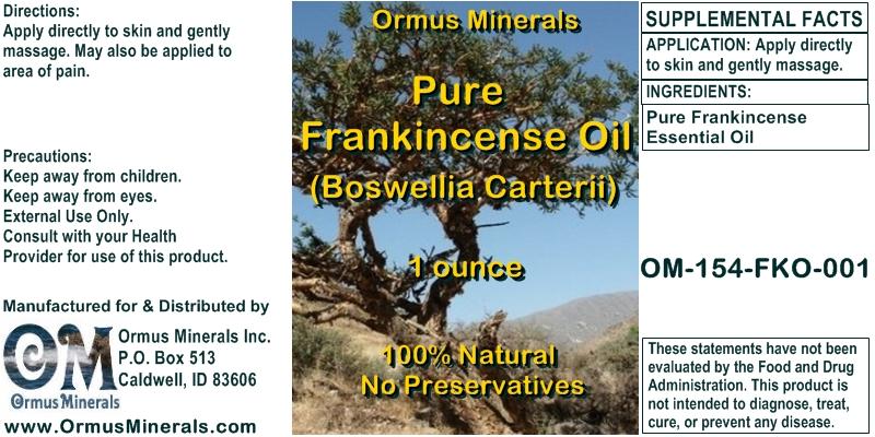 Ormus Minerals Pure Frankincense Oil (Boswellia Carterii) 1 oz