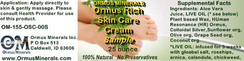 Ormus Minerals Ormus Rich Skin Care Cream .25 oz